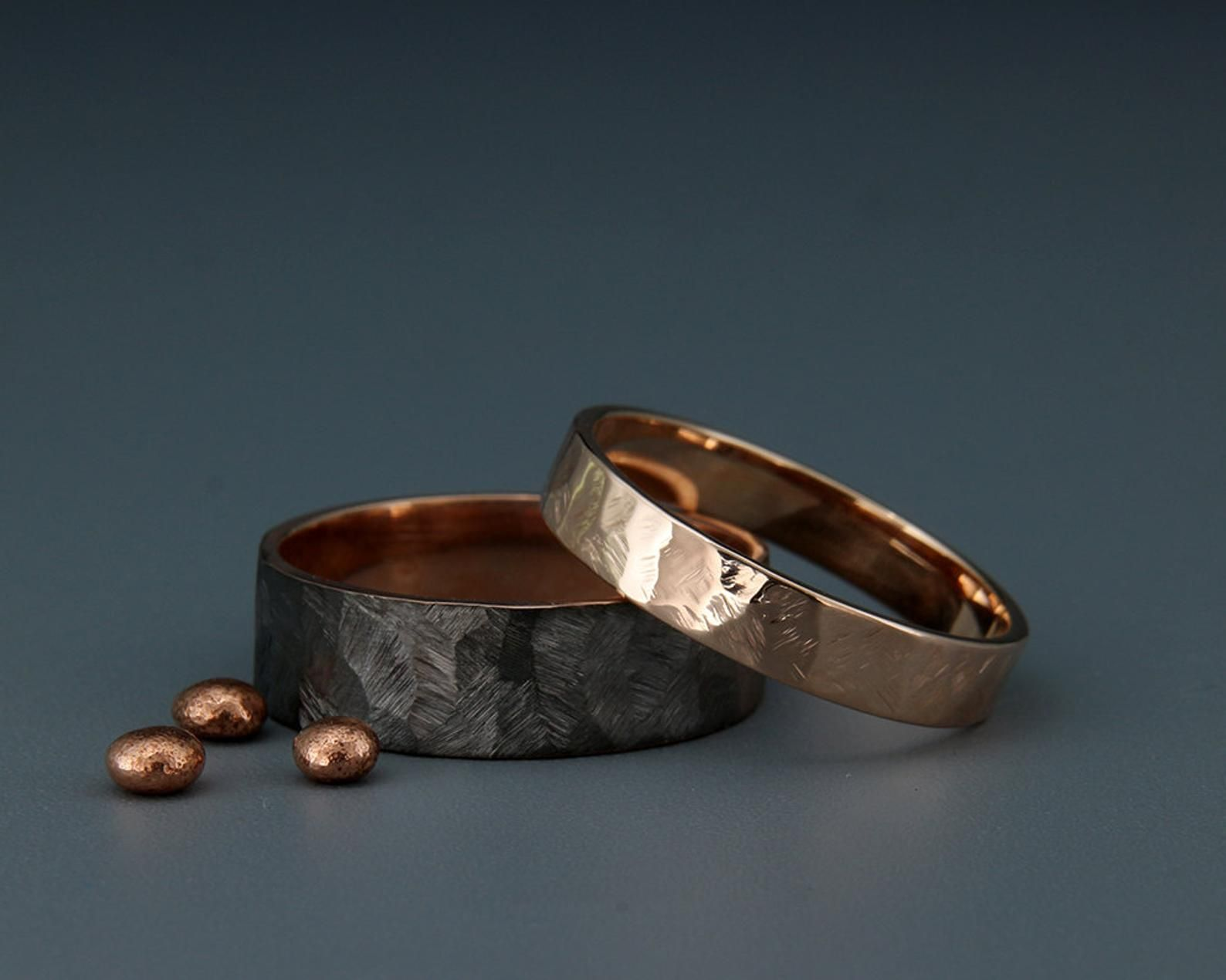 Black And Bright 14k Rose Gold Faceted Wedding Rings Set Handmade
