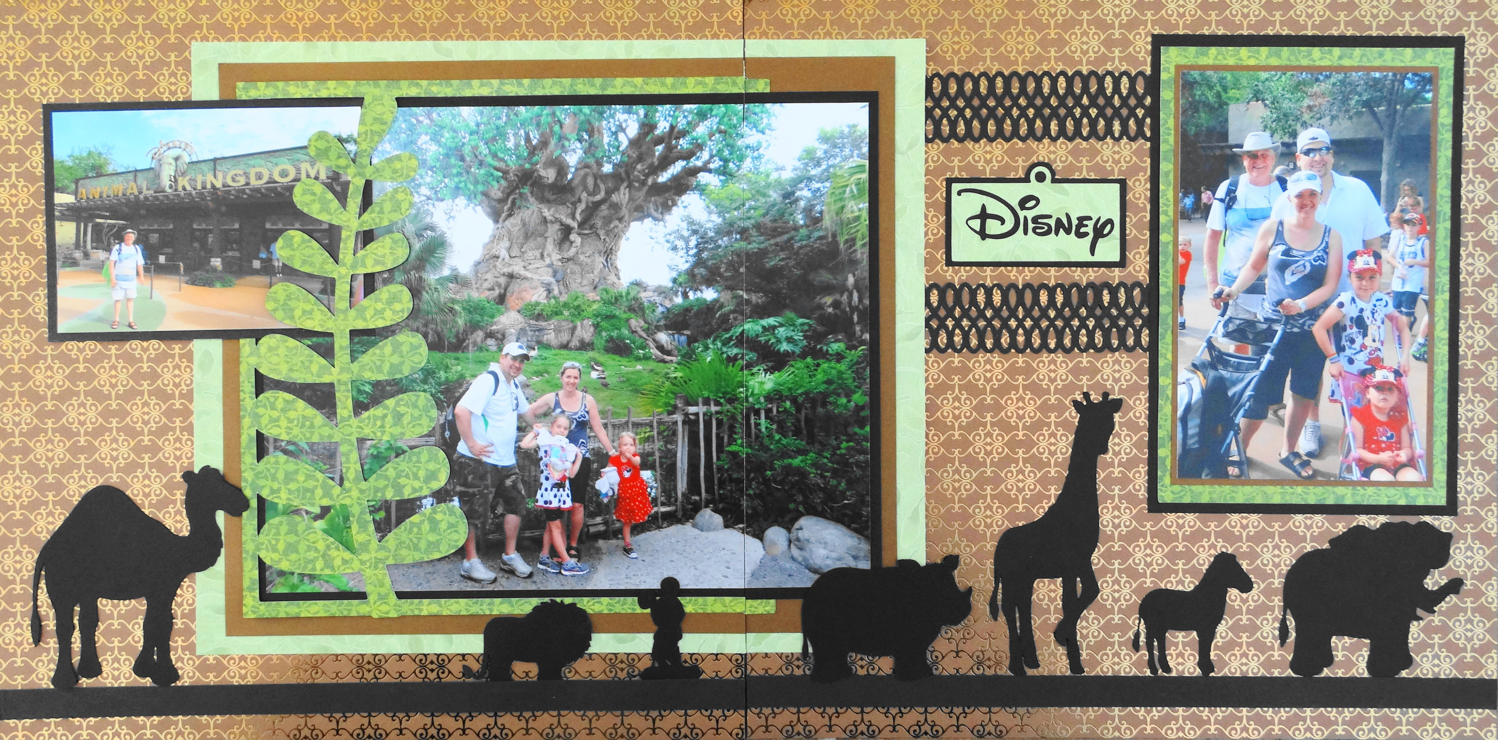 Disney Animal Kingdom Scrapbook Layout With The Tree Of Life And Animal Silhouettes Can You Disney Scrapbooking Layouts Animal Kingdom Disney Disney Scrapbook