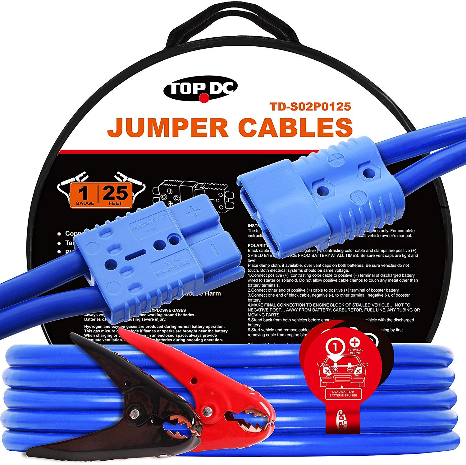 Topdc Jumper Cables With Quick Plug 1 Gauge 25 Feet 700amp Heavy Duty Booster Cables 1awg X 25ft In 2020 Travel Trailer Floor Plans Work Truck Universal Power Adapter