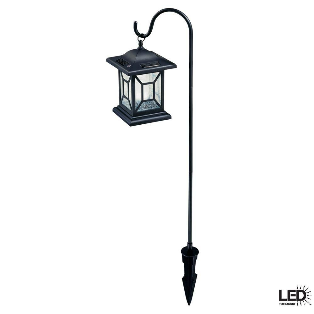Hampton Bay Black Solar Led Outdoor Diamond Lantern 2 Pack 27929 The Home Depot