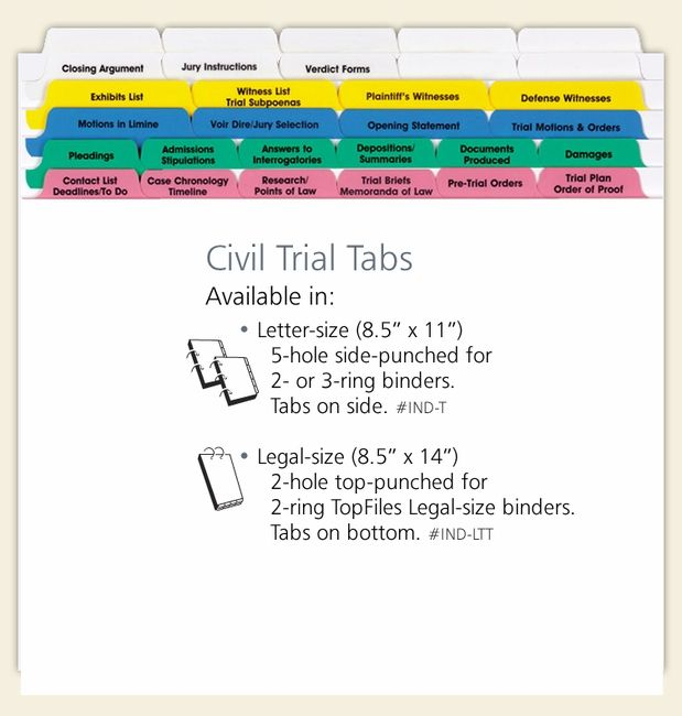 Civil Trial Index Tab Dividers Law School Life Law School Prep Law School