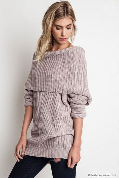 Chunky Thick Foldover Off the Shoulder Knit Sweater Top-Taupe ...