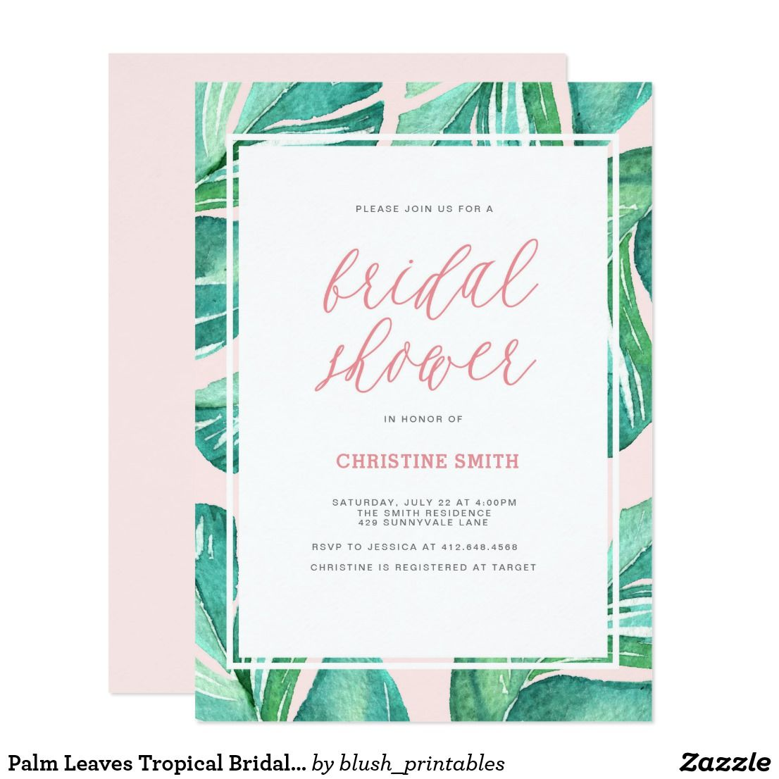 Palm Leaves Tropical Bridal Shower Invitation First comes love, then ...