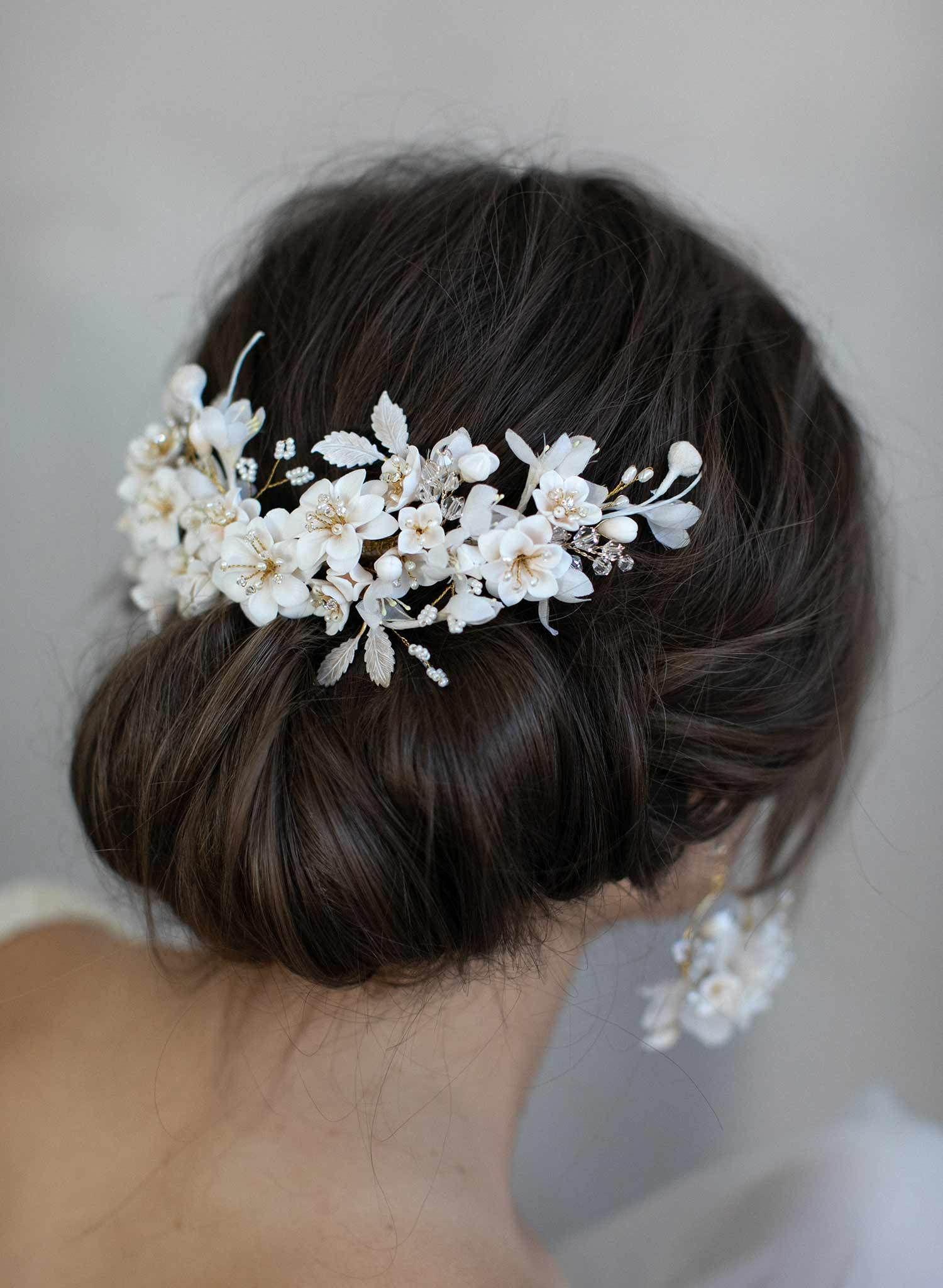 Floral clay bridal headpiece - Creamy decadence floral headpiece - Style #939 #bridalheadpieces