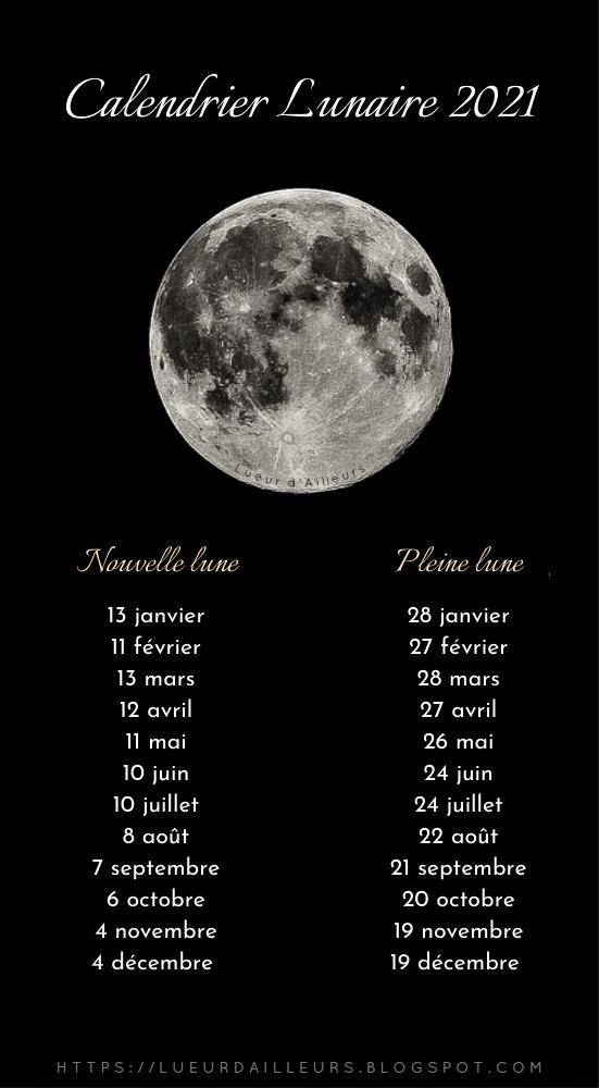 Calendrier lunaire 2021   Calendrier lunaire, Nouvelle lune