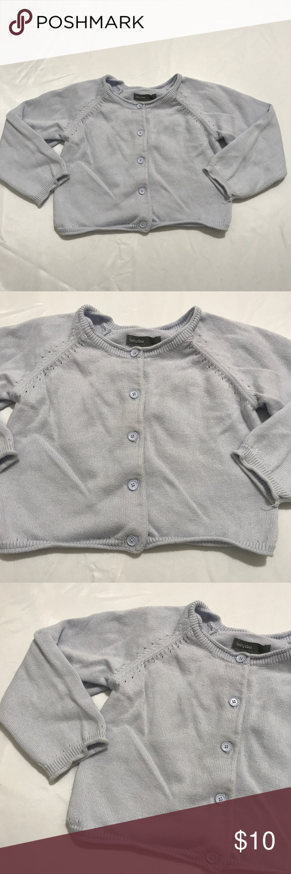 Girls Gap Pale Blue Button Cardigan Sweater 18-24m | Flaws and ...