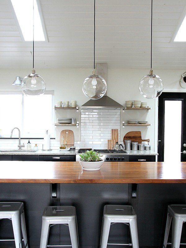Farmhouse Kitchen Dark Grey Cabinets Butcher Block Counter Top Pendant Light No