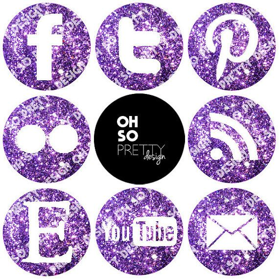 Purple Glitter Social Media Buttons Package for Blog or