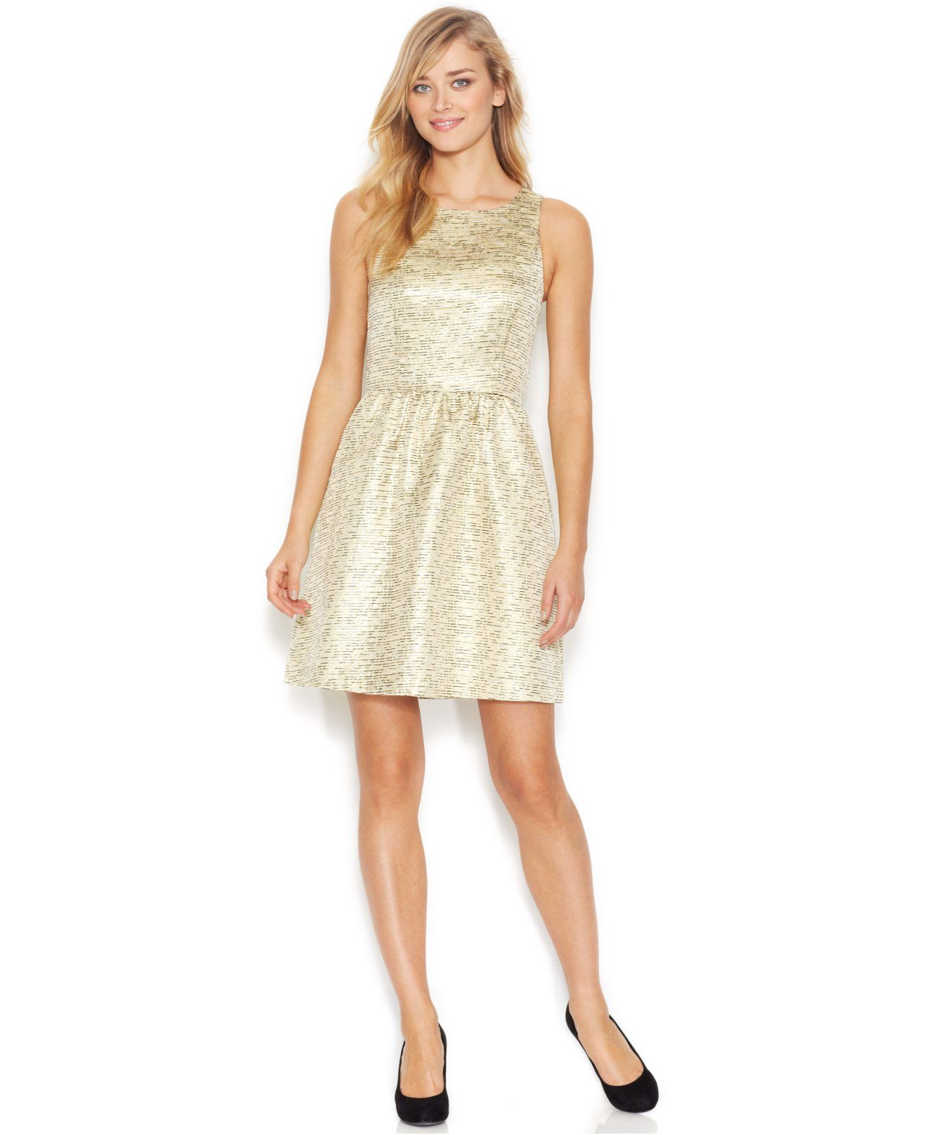 Macy's party dresses weddings  kensie Sleeveless ScoopNeck FoilPrint Dress Only at Macyus
