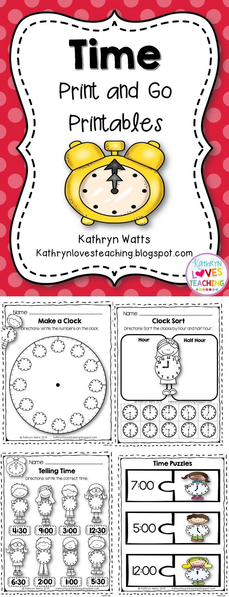 time worksheets primary must have tpt finds time to the hour teaching time y teaching. Black Bedroom Furniture Sets. Home Design Ideas