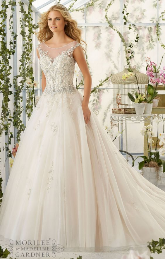 Mori Lee beaded aline princess wedding dress | Princess wedding ...
