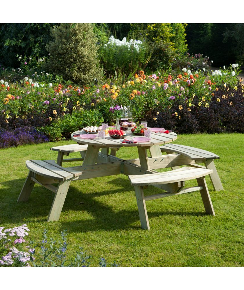 Argos Round Garden Table And Chairs: Buy Rowlinson Round Picnic Table At Argos.co.uk