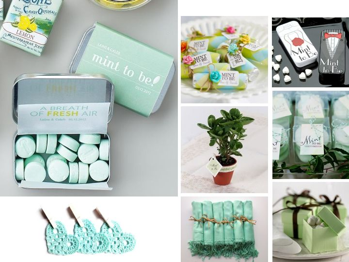 mint themed favors - super cute!