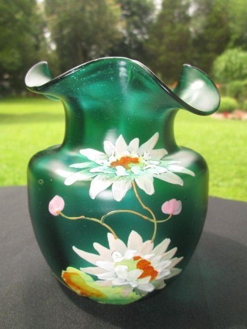 KRALIK STIEGEL GREEN IRIDESCENT ART GLASS VASE HAND PAINTED ENAMEL LOTUS FLOWERS
