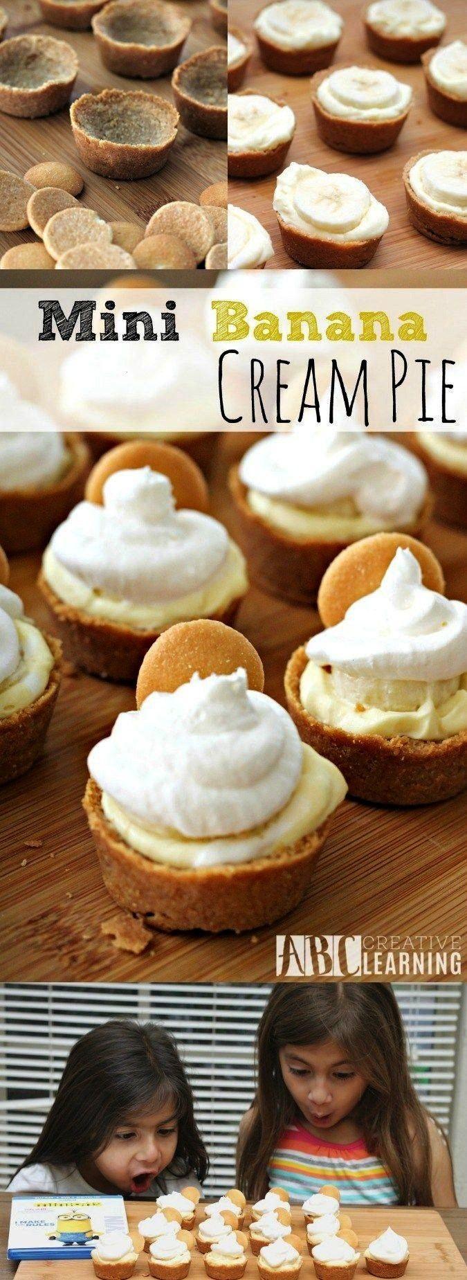 Banana Cream Pie - Pies & Tarts -Mini Banana Cream Pie - Pies & Tarts -  These Mini Peach Pies are
