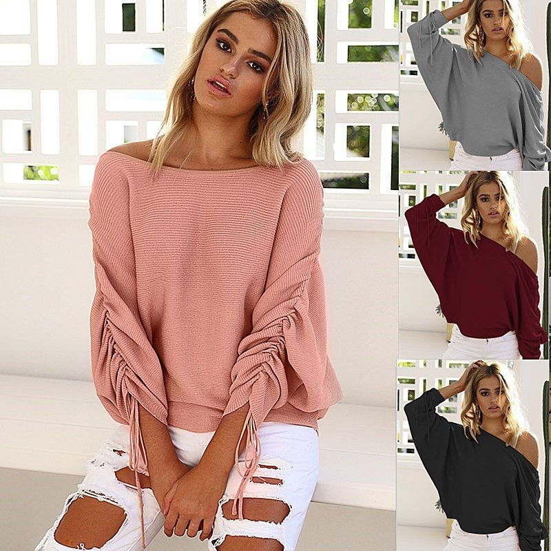 86cf414f9b11e Oversize Lady Off Shoulder Batwing Sleeve Knit Sweater Tops Pullover Outwear