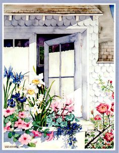 """""""Cottage Window Box"""" watercolor by Susan Tolle McClure. """""""