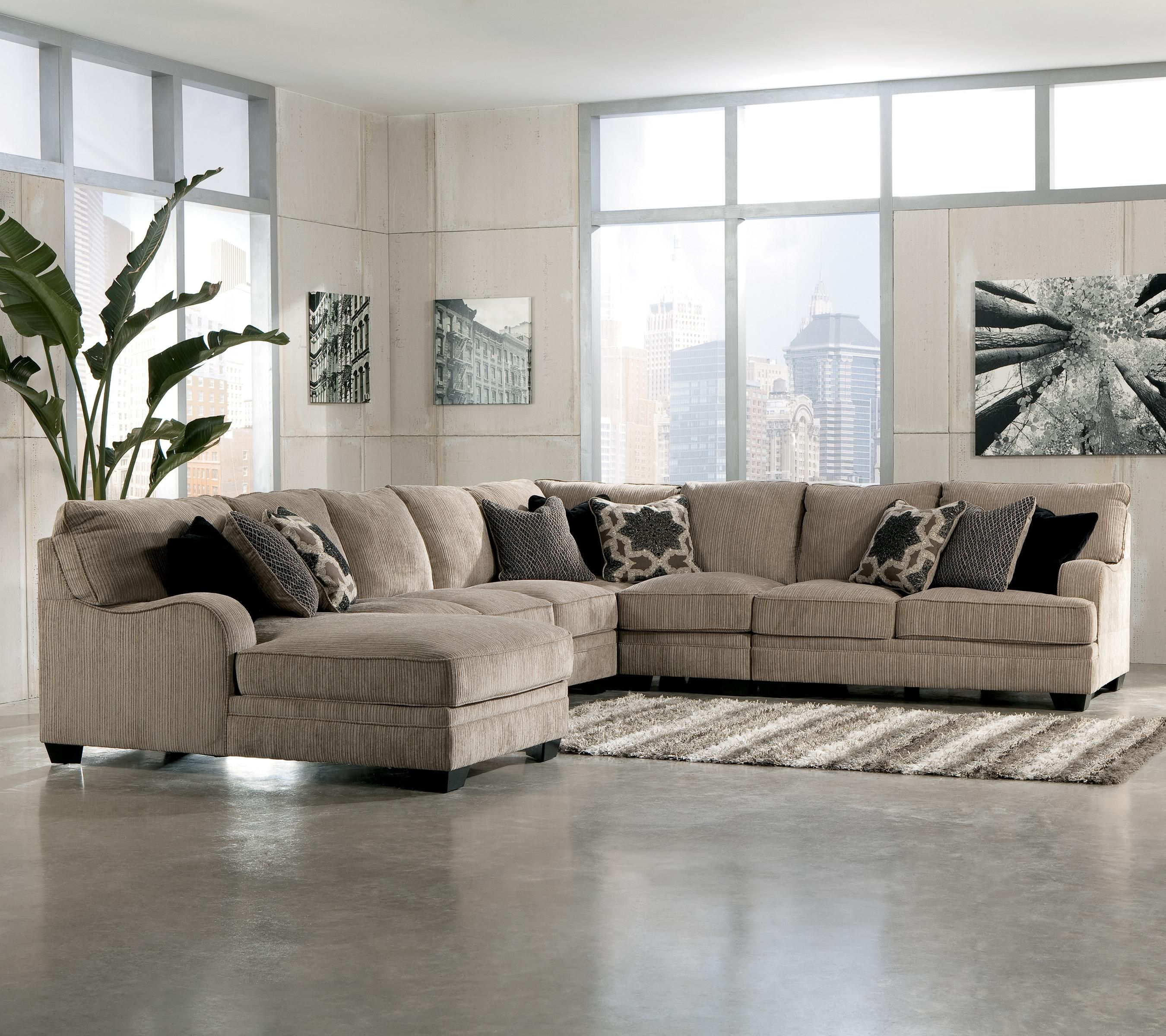 Signature Design by Ashley Katisha - Platinum Sectional Sofa with Left Chaise - Miskelly Furniture - Sofa Sectional Jackson Mississippi : gray sectional sofa ashley furniture - Sectionals, Sofas & Couches