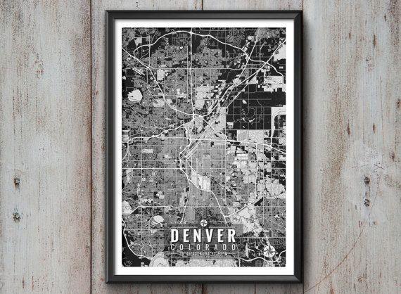 Colorado Map Art.Denver Colorado Map With Coordinates Denver Wall Art Denver Map