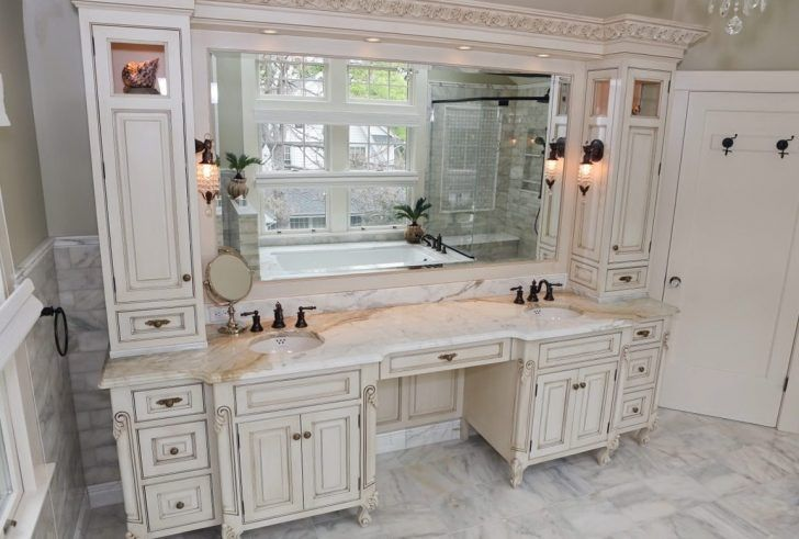 Bathroom Attractive Bathroom Makeup Vanity With Large Mirror And
