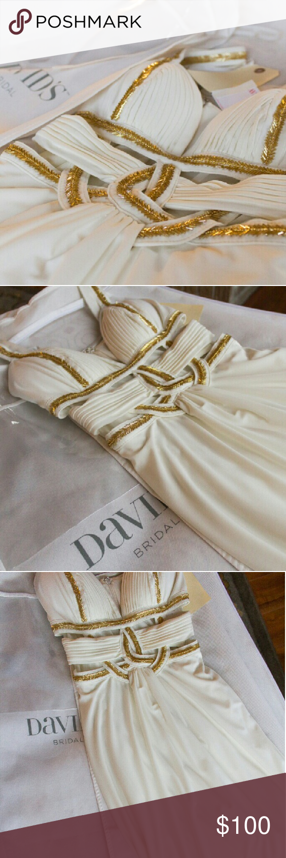David's Bridal Dress Long sleeveless David's Bridal prom dress with cutouts. Brand new, with tags. Size: 0 Color: Ivory David's Bridal Dresses Prom