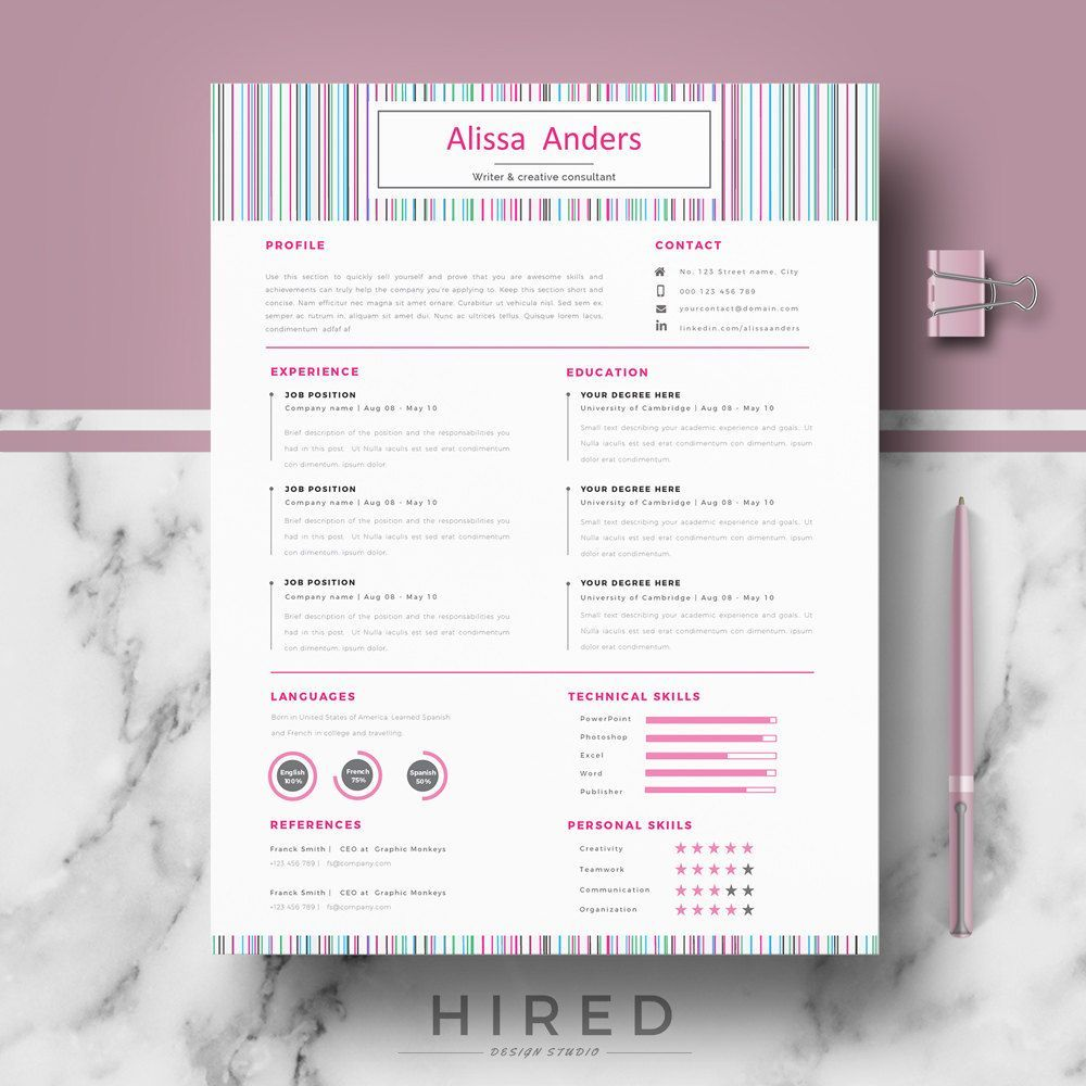 creative resume template for word alissa 100 editable instant digital download