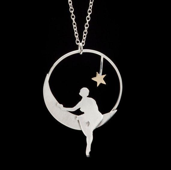 Niña en el collar inspiración vintage hecho a mano Luna collar - plata esterlina con una estrella de oro