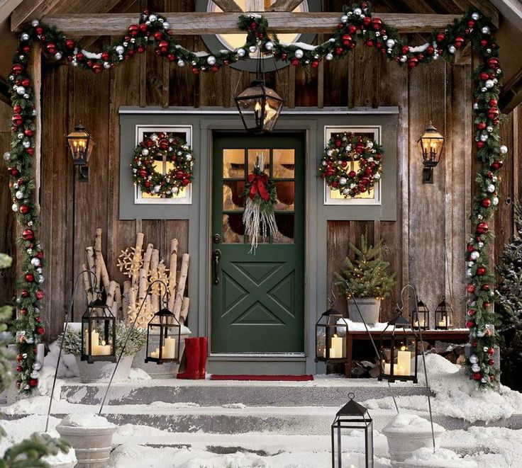 Rustic Log Cabin Decorating Ideas Bing Images Cabin Christmas Outdoor Christmas Decorations Christmas Porch