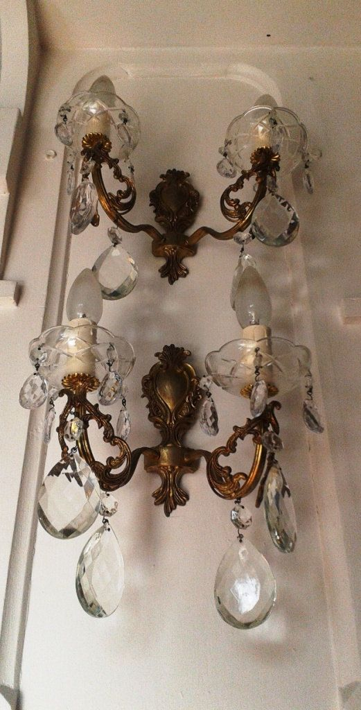 2 Pairs Large Antique French Brass Crystal By Frenchmarketfinds