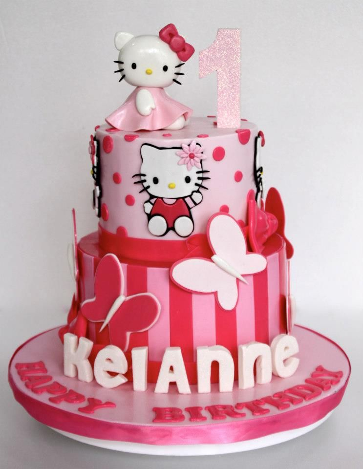 Enjoyable Hello Kitty First Birthday Cake With Images Hello Kitty Funny Birthday Cards Online Inifodamsfinfo