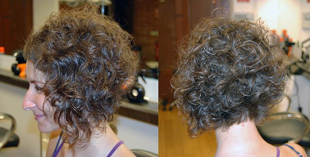 Here S The Back And Side View Of A Curly Angled Bob Longer In The