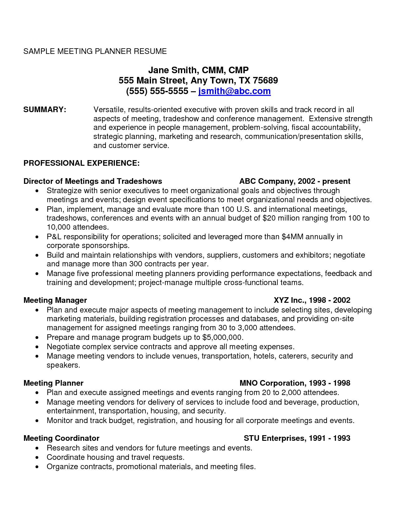 resume example format in 2020 Meeting planner, Event