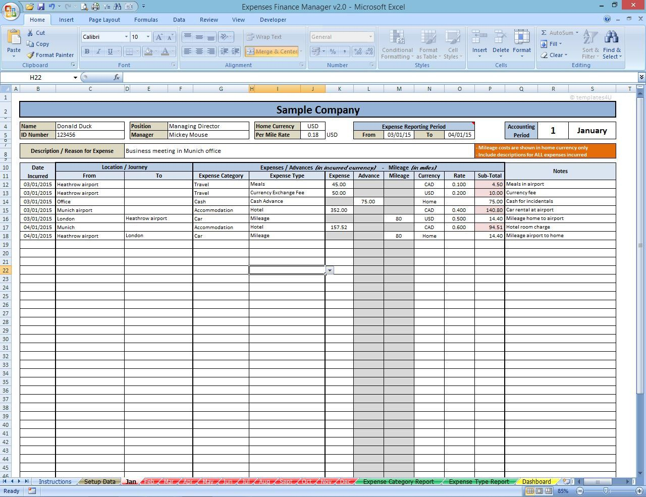 Annual Expenses Manager By Templates4u On Etsy