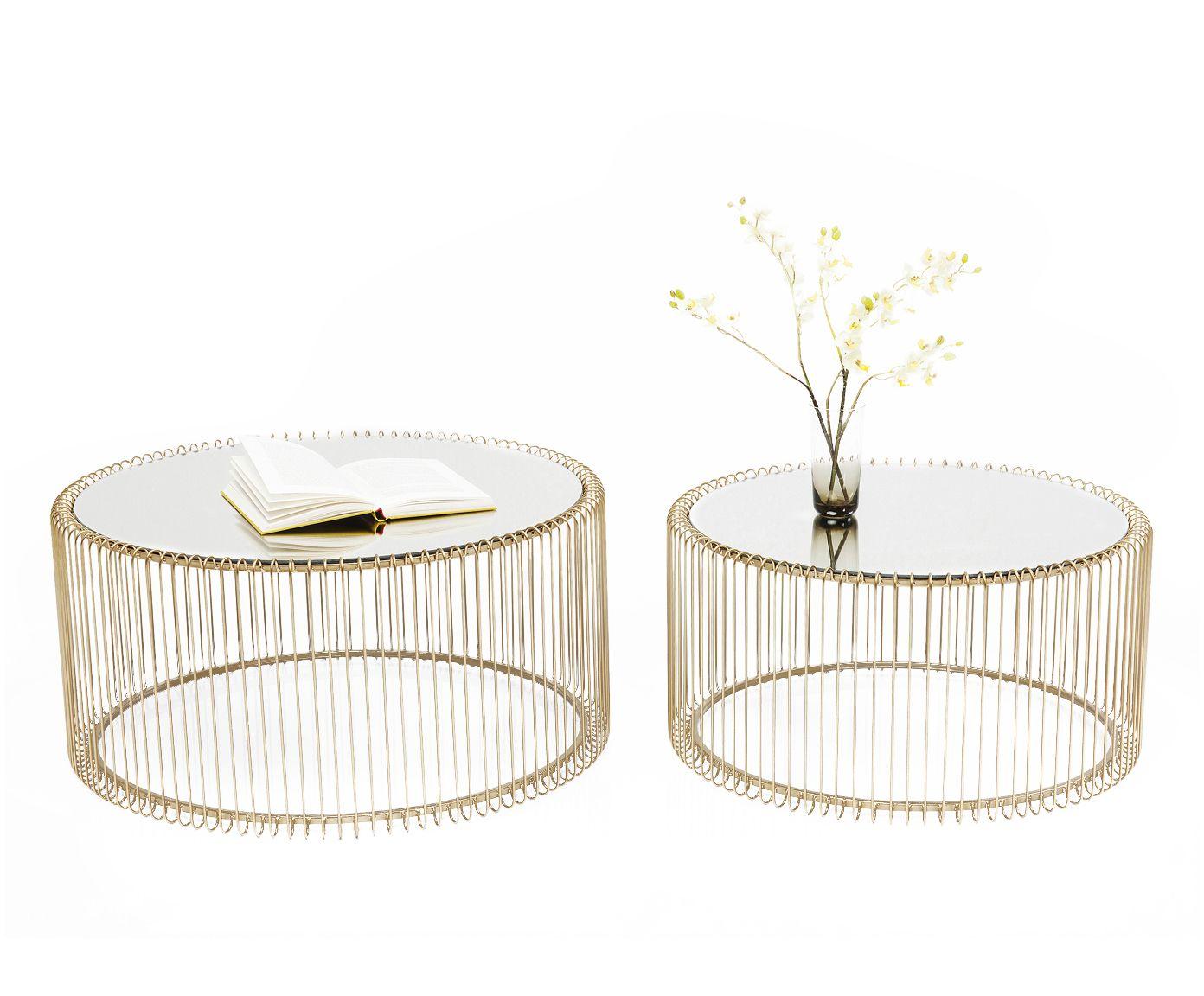 Tavolino Da Salotto Oro.Set Tavolini Da Salotto Wire 2 Pz Paola Salotto