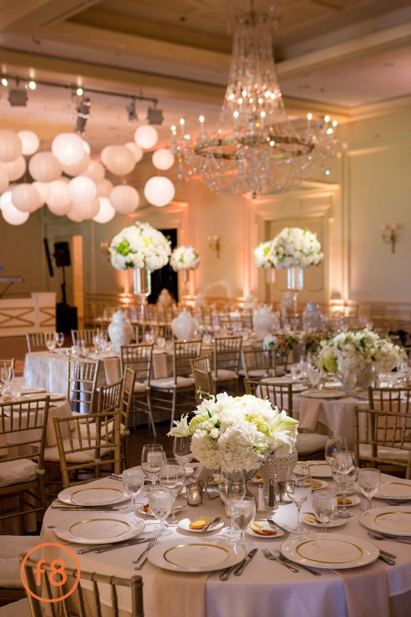 White And Gold Wedding Reception Decor Brook Hollow Golf Club