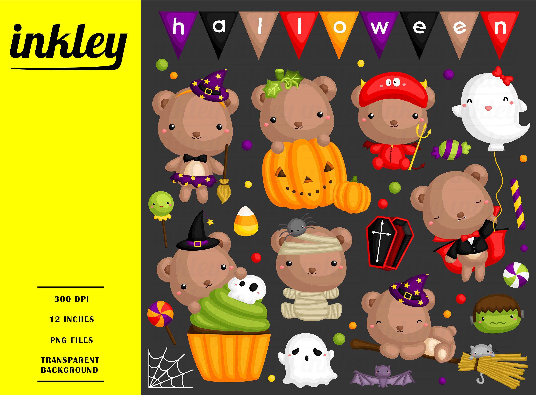 Halloween Bear Clipart Cute Animal Clip Art Holiday