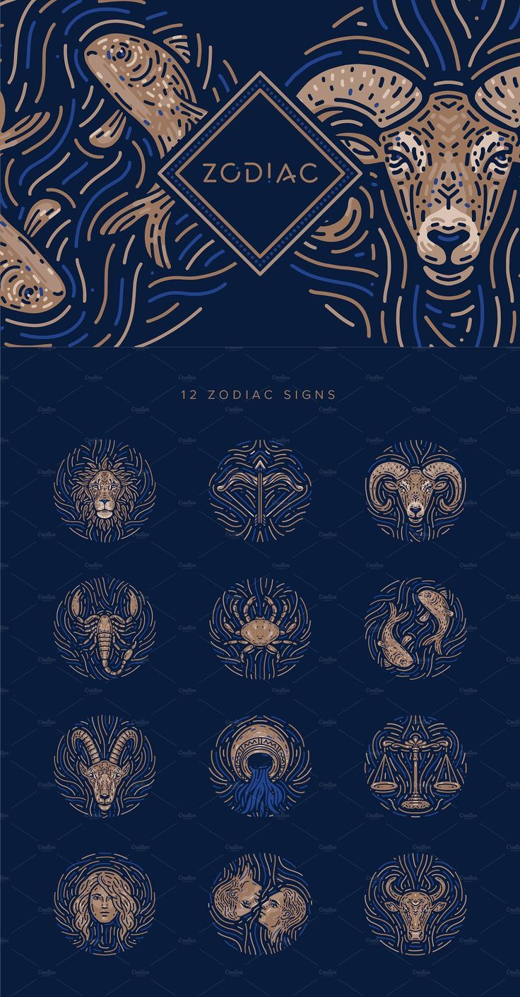 Zodiac Illustration Collection. This collection includes 12 vector zodiac signs 12 vector frames 3 patterns. Great for scrapbooks, posters, social media, webdesign, flyers, branding, packaging, stationery, and more! #illustration #zodiac #handmade #pattern #starsign #horoscope