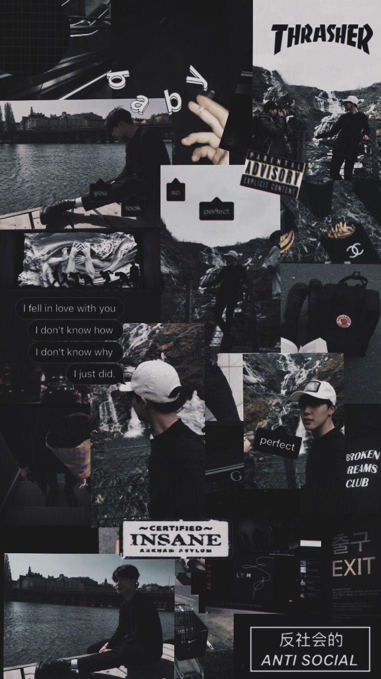 Collage Black Aesthetic Jimin Bts Fotografi Malam Foto Abstrak Kertas Dinding