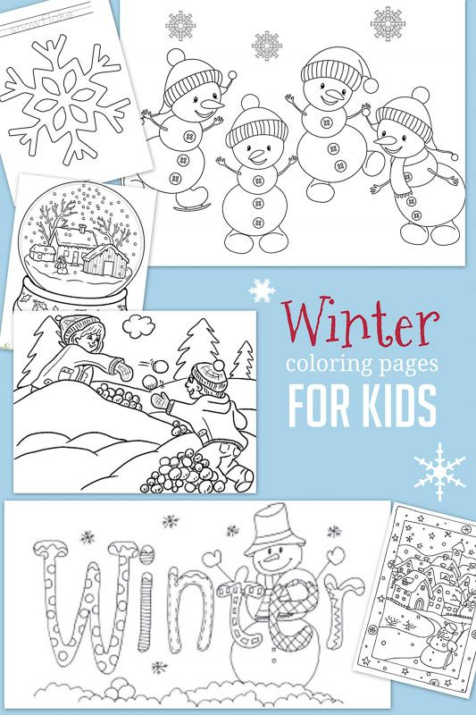 Christmas & Winter Coloring Pages for Kids to Color | Imprimibles ...