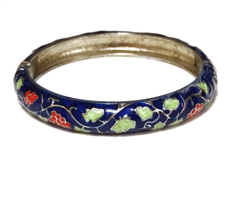 Vintage enamel bangle bracelet cobalt blue w red green grape cluster
