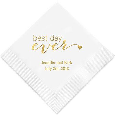 Best Day Ever Printed Napkins Wedding Napkins Printed Napkins Wedding Shoppe