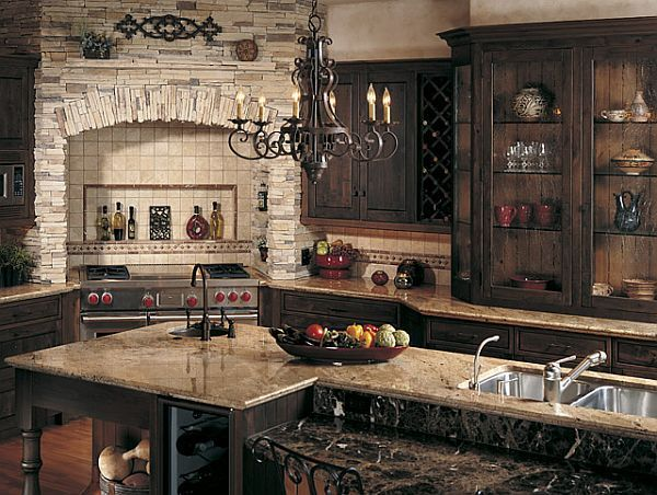 A Medieval design kitchen, I see wooden beam cabinets and tile ...