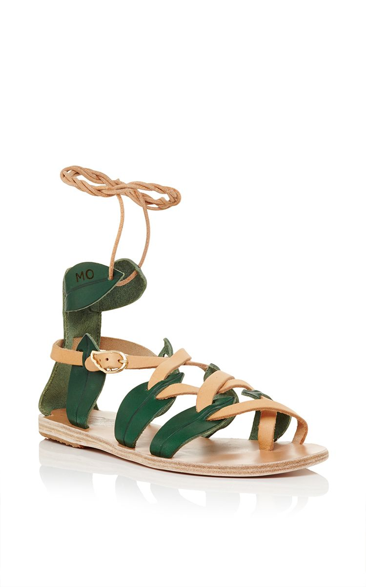 These vachetta Ancient Greek Sandals feature wrap around ankle straps. This sandal is monogrammable. .Now Available on Moda Operandi