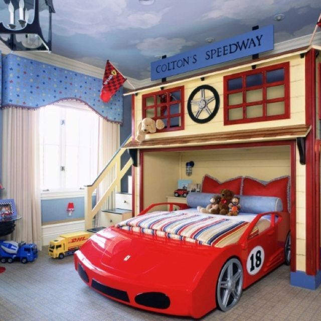 Pin By Kayla Van Patten On Huddy S Car Room Cool Bedrooms For Boys Kids Room Design Car Themed Bedrooms