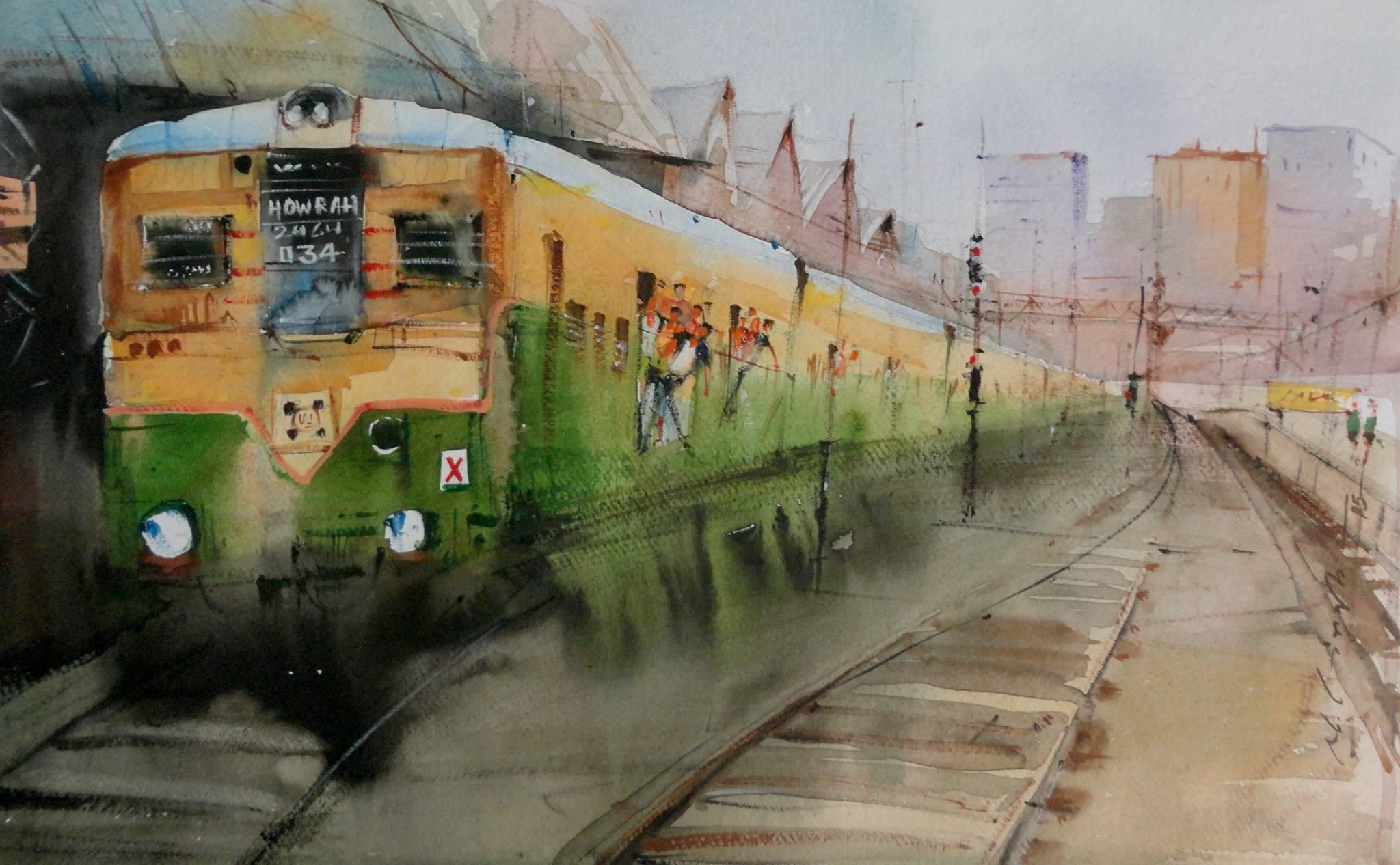 Indian Local Train Kolkata - Watercolor Painting Art
