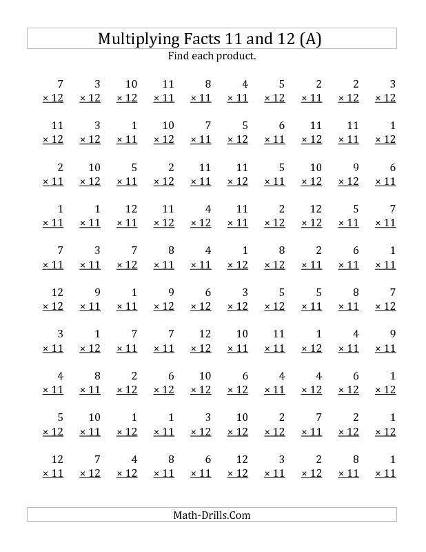 New 2012 12 17 Multiplication Worksheet Multiplying By Facts 11