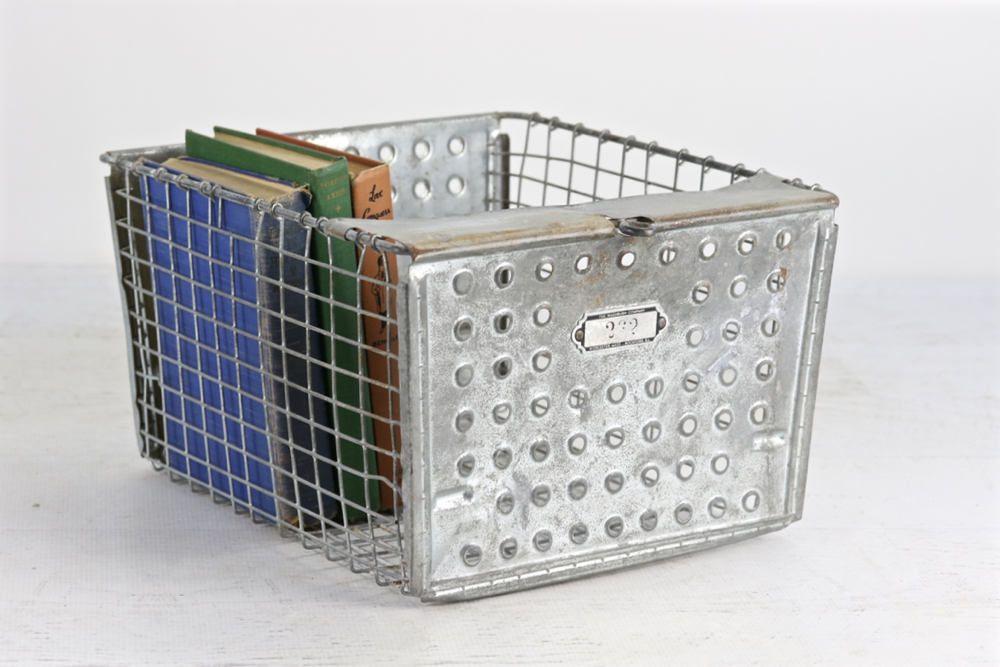 Locker Basket Vintage Metal Wire Old School