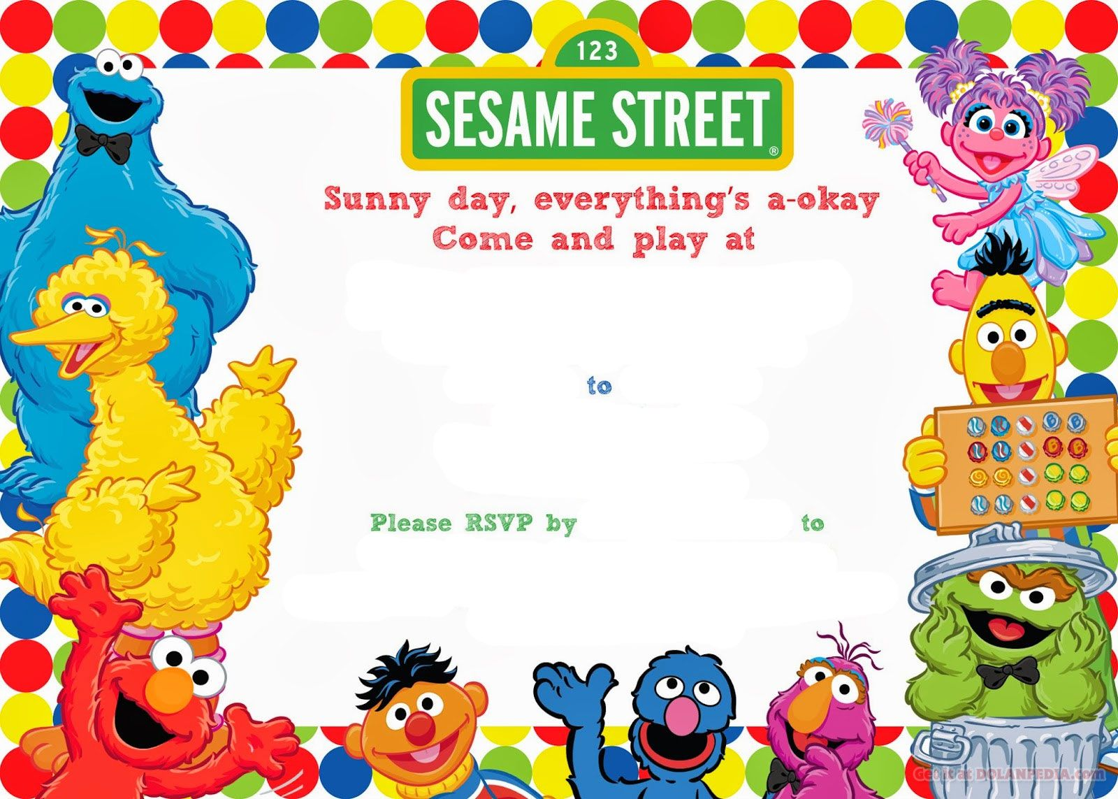 Free Printable Sesame Street Birthday Invitation  Sesame street