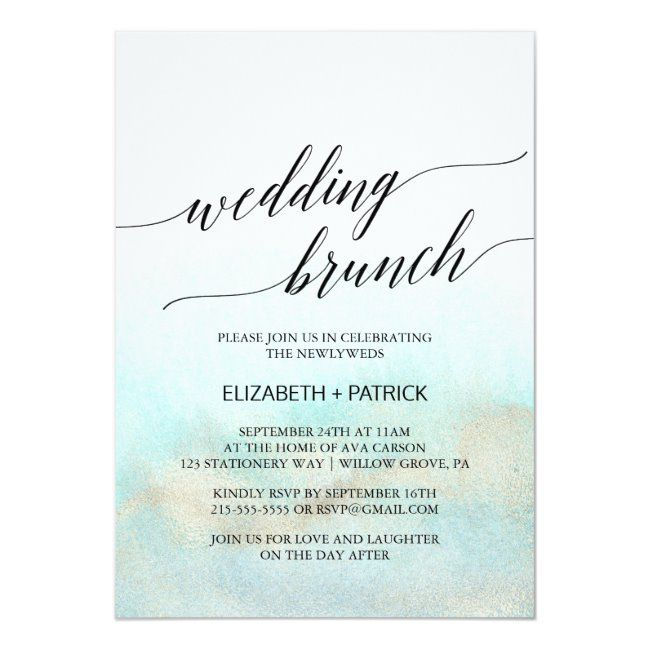 Aqua And Gold Watercolor Beach Wedding Brunch Invitation Zazzle Com In 2020 Beach Engagement Party Wedding Brunch Invitations Beach Watercolor