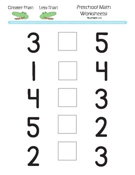 Preschool - Kindergarten Math- Greater-Than, Less Than ...